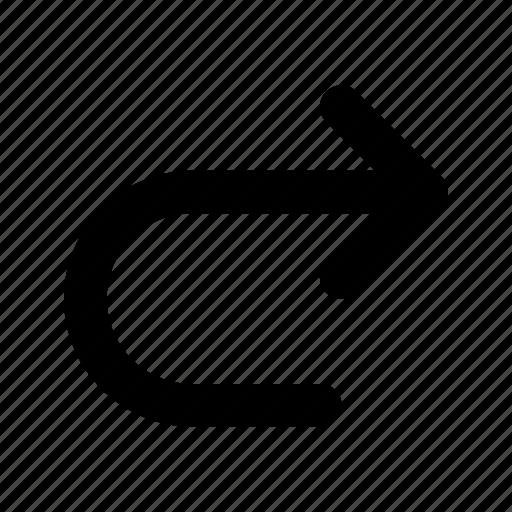 arrow, back, previous, redo, right icon