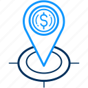 business, currency, dollar, gps, location, map, pointer icon