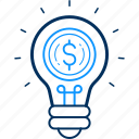 bulb, dollar, finance icon