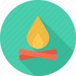 bonfire, camping, fire, forest icon