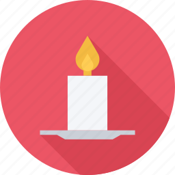 candle, fire, plate, wick icon
