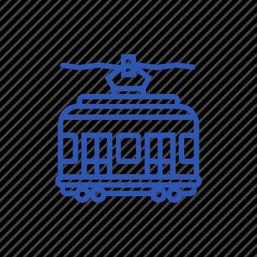 railroad, red tramway, tramway, transport, vehicle icon icon