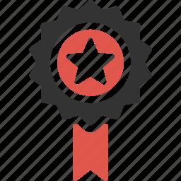achievement, medal, premium, quality, reward, ribbon, star icon