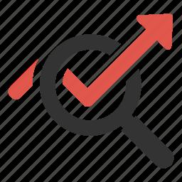 analysis, analytics, arrow, increase, market, search, statistics icon