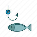 fish, fishing, hook, water icon