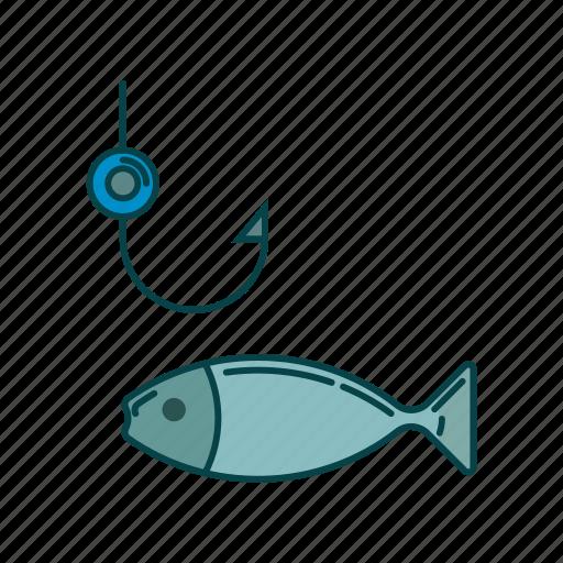 fish, fishing, hook, water icon