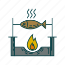 cook, dinner, fish, roast fish icon