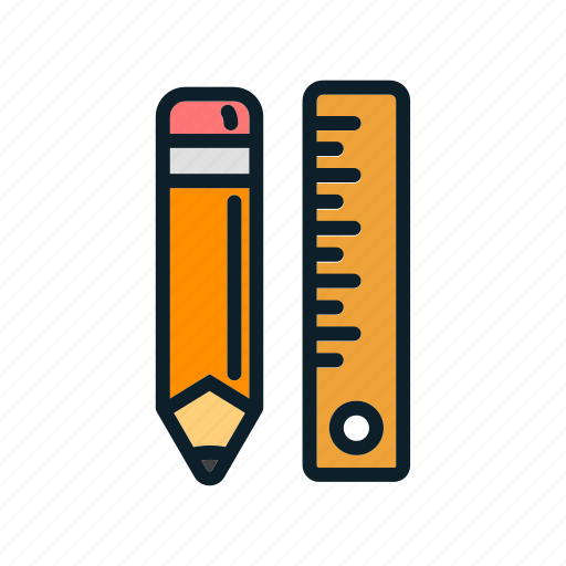 education, pencil, pencil and ruler, ruler ico icon
