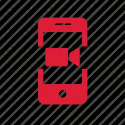 graphics, iphone, mobile, movie, phone, video icon