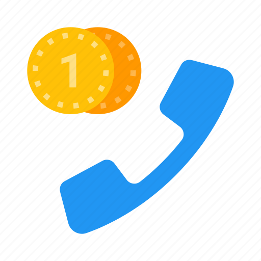 call, coins, mobile, paid, phone, telephone icon