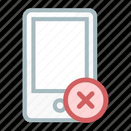 cancel, delete, mobile, phone, remove, smartphone icon