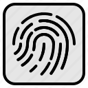 biometric, data, fingerprint, touchscreen, unlock icon