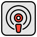 audio, broadcast, media, podcast, sound icon