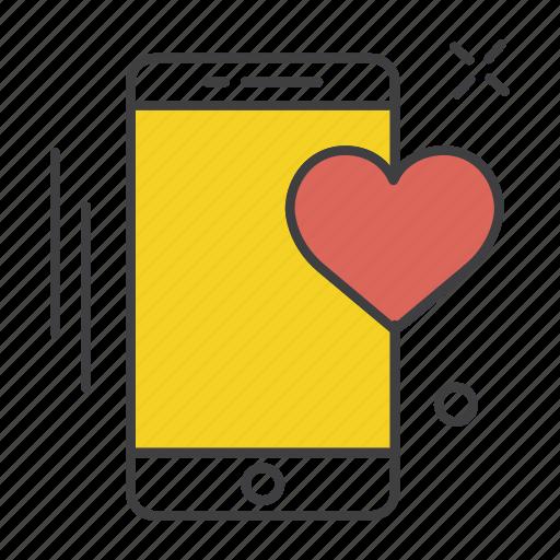 app, application, communication, heart, mobile, phone, ui icon