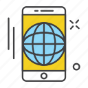 app, application, communication, globe, mobile, phone, world icon