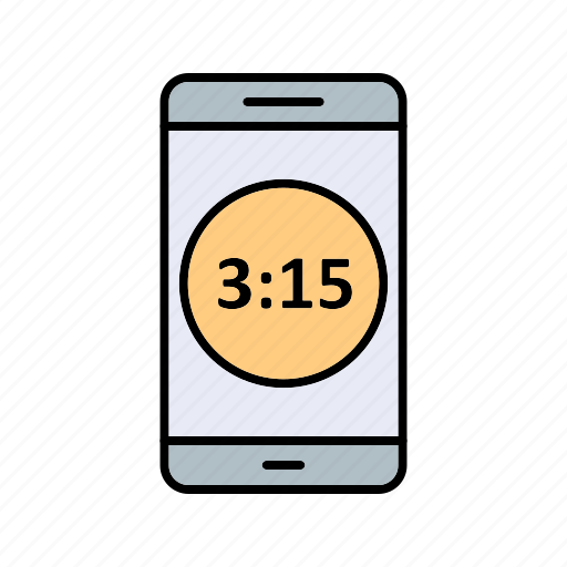 app, display, mobile, time icon