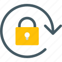 arrow, clockwise, lock, orientation, padlock, rotate, secure icon
