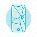 broken, glass, mobile, phone, screen icon