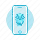 fingerprint, mobile, phone, scan icon