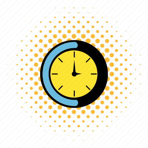 alarm, cartoon, clock, comics, minute, pop, time icon