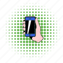 cellphone, comics, communication, hand, mobile, phone, smartphone