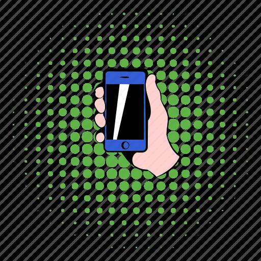 cellphone, comics, communication, hand, mobile, phone, smartphone icon