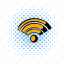 comics, communication, internet, mobile, network, website, wireless icon