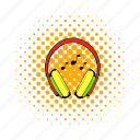 comics, ear, headphone, headset, music, sound, technology icon
