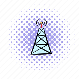 cell, comics, phone, radio, technology, tower, wireless icon