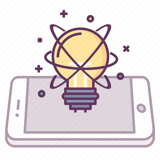 concept, innovate, innovation, light, mobile, startup, think icon