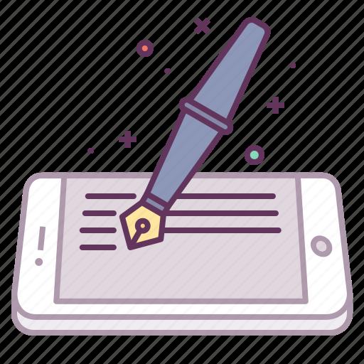 artical, blog, fountain, ink, mobile, pen, write icon