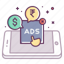 ads, advertise, click, mobile, pay, per, touch icon
