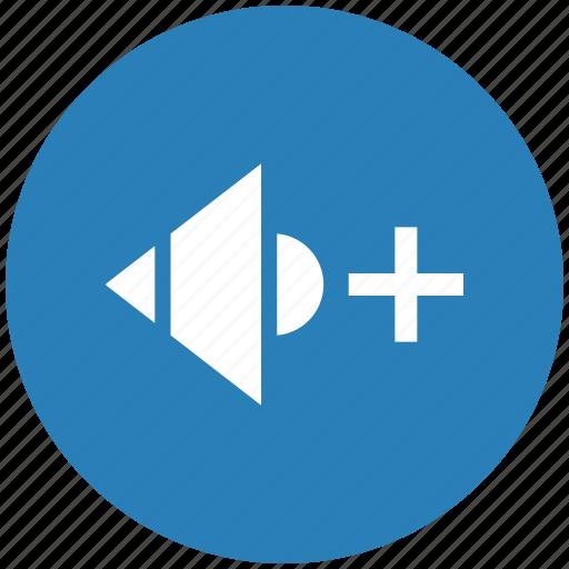 add, blue, level, music, mute, round, sound icon