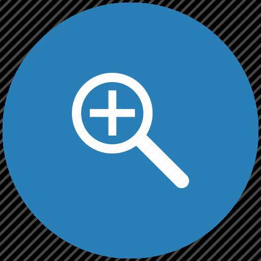 add, blue, lopp, magnifier, round, scale icon
