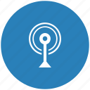 antenna, blue, radio, round, signal icon