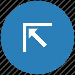 arrow, blue, corner, left, round, top icon
