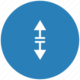 arrow, blue, border, round, separate, vertical icon