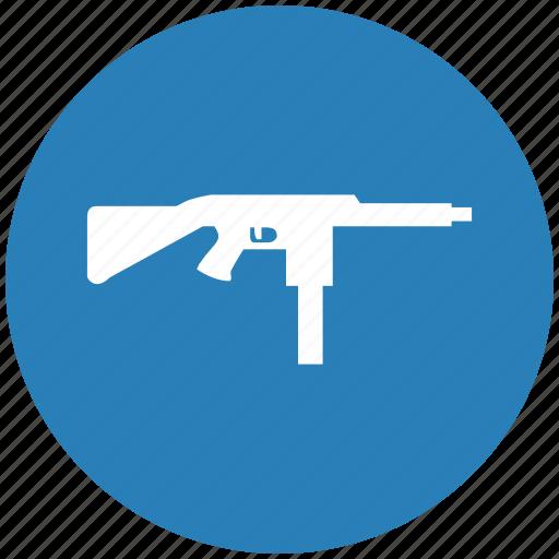 automatic, blue, gun, mashine, round, weapon icon