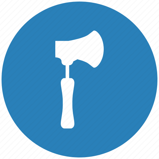 ax, axe, blue, cleaver, hatchet, round icon