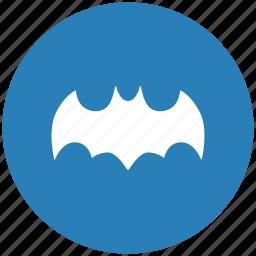 bat, batman, blue, comics, hero, round, sign icon