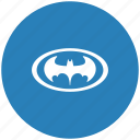 bat, batman, blue, hero, oval, round icon