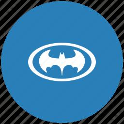bat, batman, blue, hero, oval, round icon