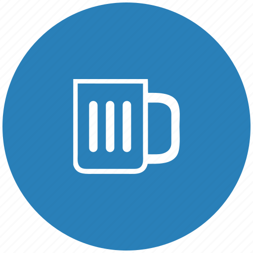 beer, blue, cup, drink, round icon