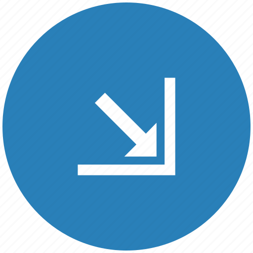 arrow, blue, bottom, corner, right, round icon