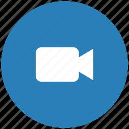 blue, cam, camera, round, video icon