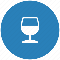 alcohol, blue, bocal, cognat, drink, round icon