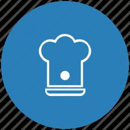 blue, cook, hat, kitchen, round icon