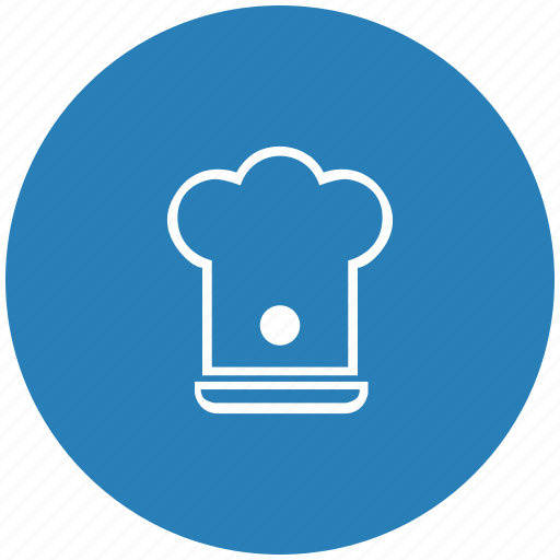 blue, cook, hat, kitchen, round icon