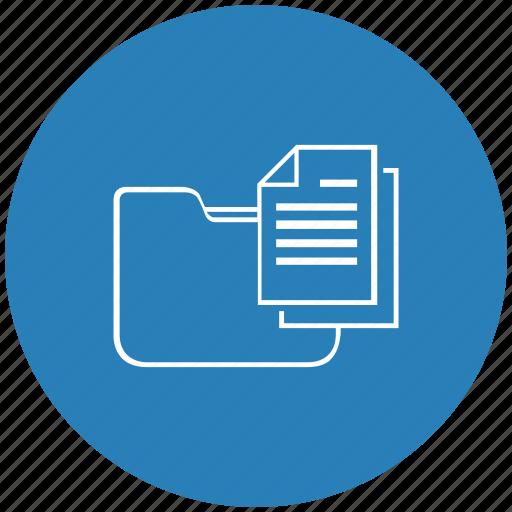 blue, copy, document, folder, round icon