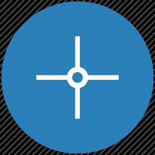 aim, blue, cursor, pointer, round, target icon